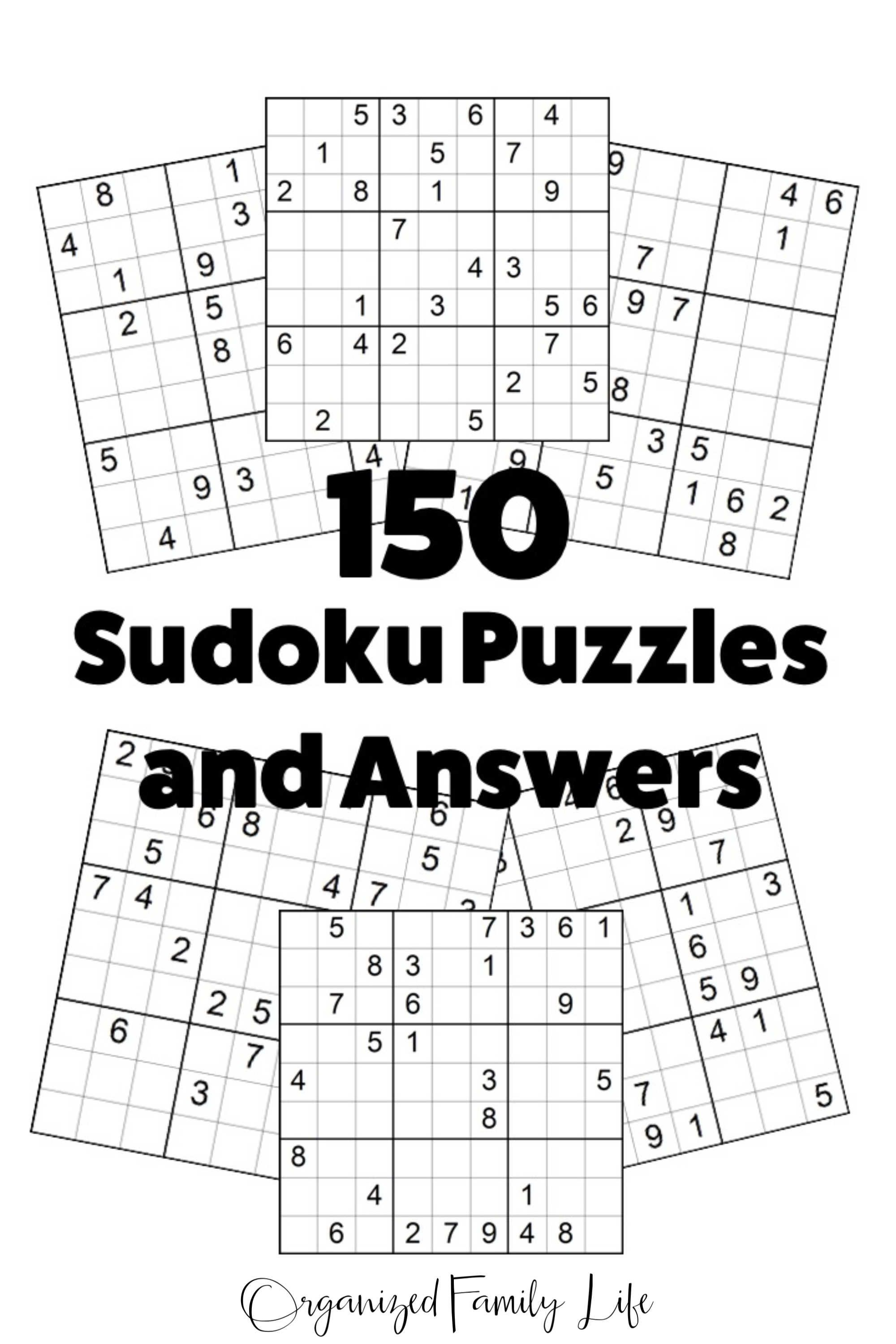 Printable Sudoku Puzzles 150 Puzzles and Answers Instant