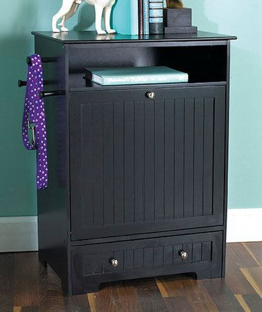 New Black Beadboard Pet Food Bowl Storage Cabinet Bin