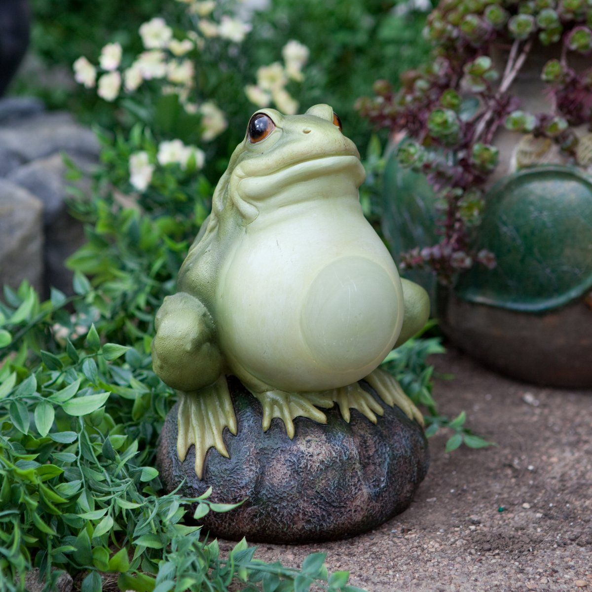 Alpine Glow In The Dark Frog On A Rock Garden Statue   Garden Statues At  Garden