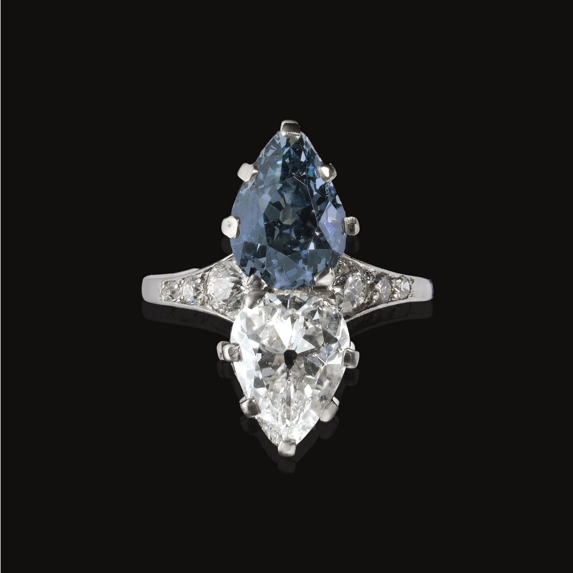 Fancy Deep Greyish blue diamond and Diamond ring circa 1900