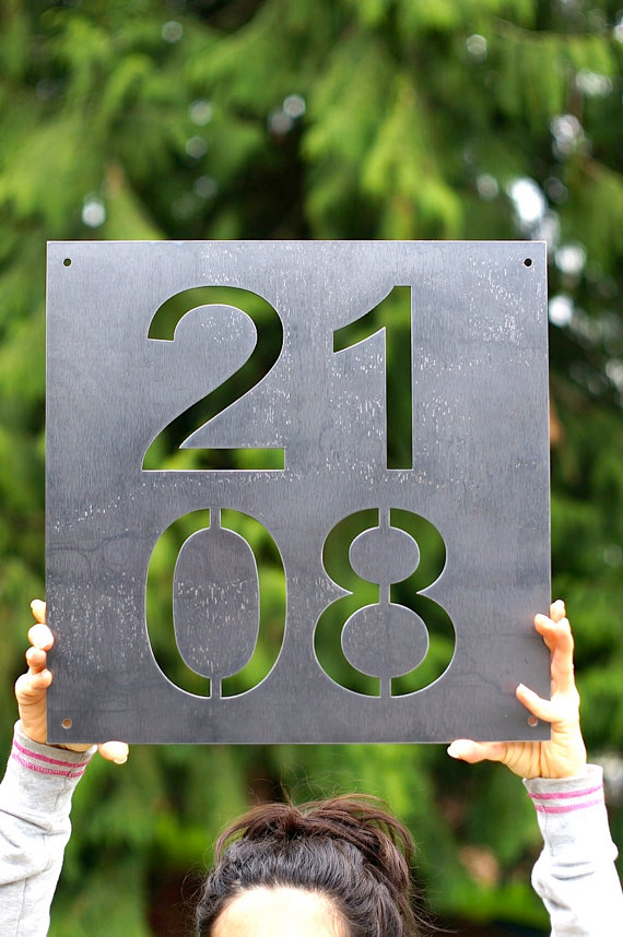 Mid century modern house number vertical by for Mid century modern address numbers
