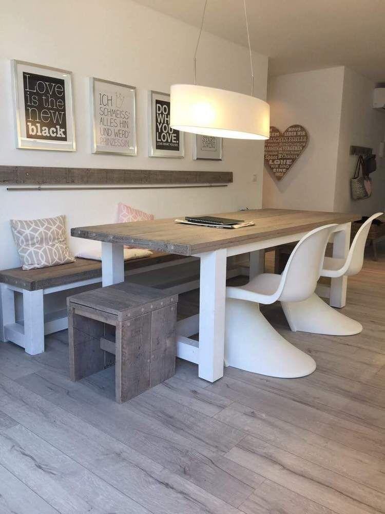 Tisch Esstisch Aus Bauholz Altholz Unikat Grey White Wash Shabby In Mbel Wohnen