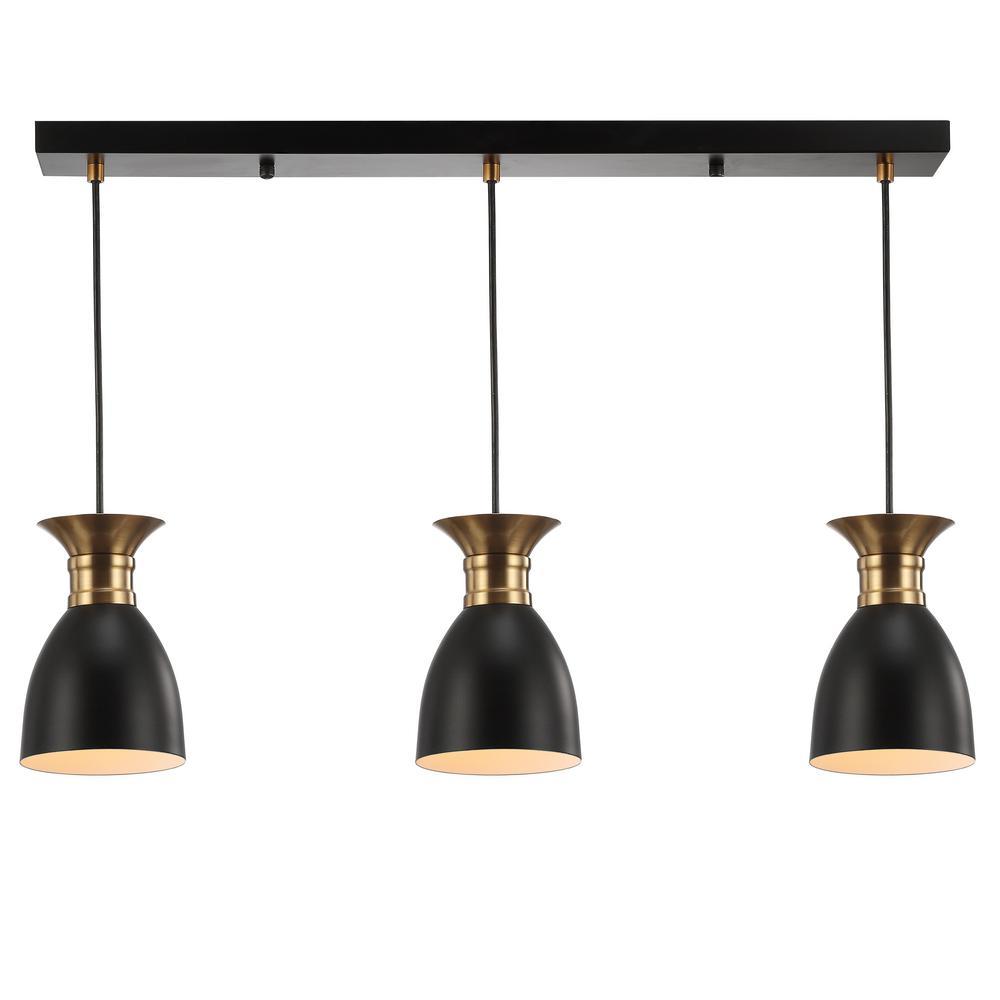 Jonathan Y Edison 5 75 In 3 Light Black Brass Gold Metal Linear Led Pendant Jyl6138a The Home Depot Energy Efficient Light Bulbs Jonathan Y Light