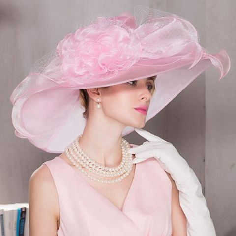 53a6035c Wide brim wedding hats with large bow and veil pink occasion Organza hats  for lady