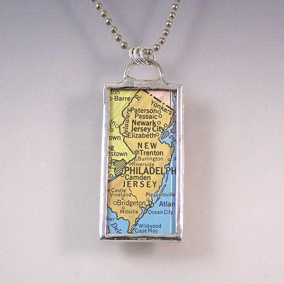 New jersey vintage map pendant necklace by xohandworks my style new jersey vintage map pendant necklace by xohandworks aloadofball Image collections