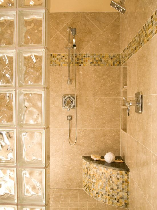 Interesting Photos Of Glass Block Showers: Bench In Shower With ...