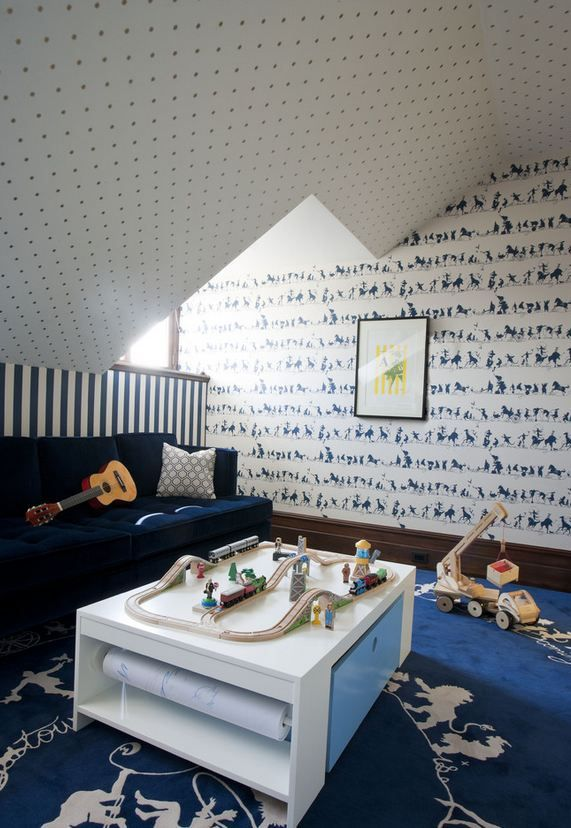 Boys Bedroom With Three Different Wallpapers Via Houzz Boys