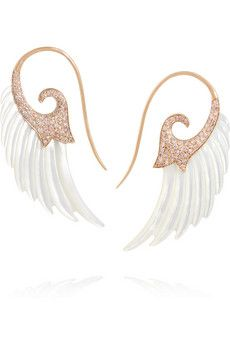 Noor Fares Wing 18-karat rose gold, diamond and mother-of-pearl earrings | NET-A-PORTER
