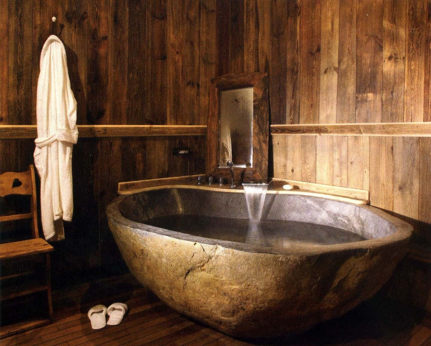 Rustic bathroom shower ideas - Find This Pin And More On Ba O Beauteous Furniture Wonderful Rustic Wooden Teak Surround Bathroom Design Ideas