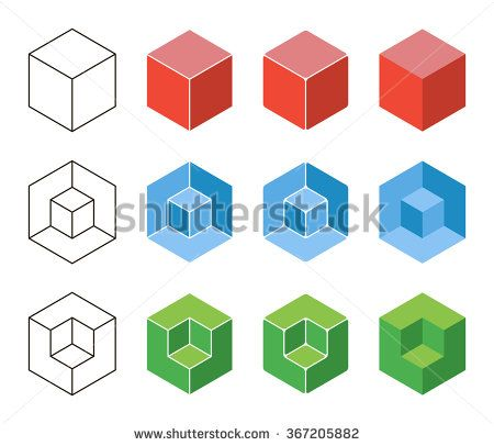 3d Cube isometric logo concept. Abstract square logo template ...