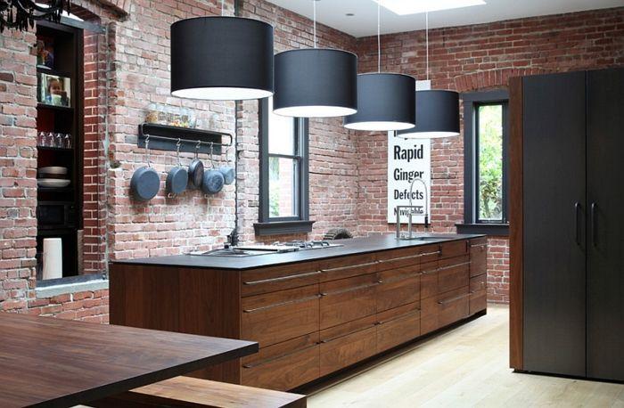 kücheneinrichtung industriell moderne elemente coole schwarze - offene küchen beispiele