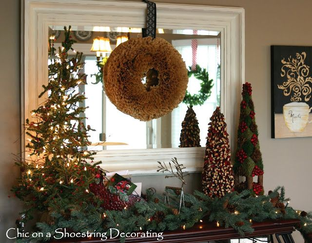 rustic christmas decor - I, of course, love this mantel deco