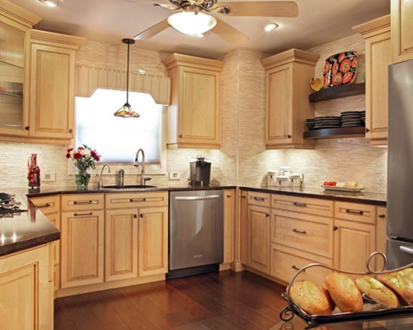 stunning natural maple kitchen cabinets | This small kitchen is designed to look larger with Hard ...
