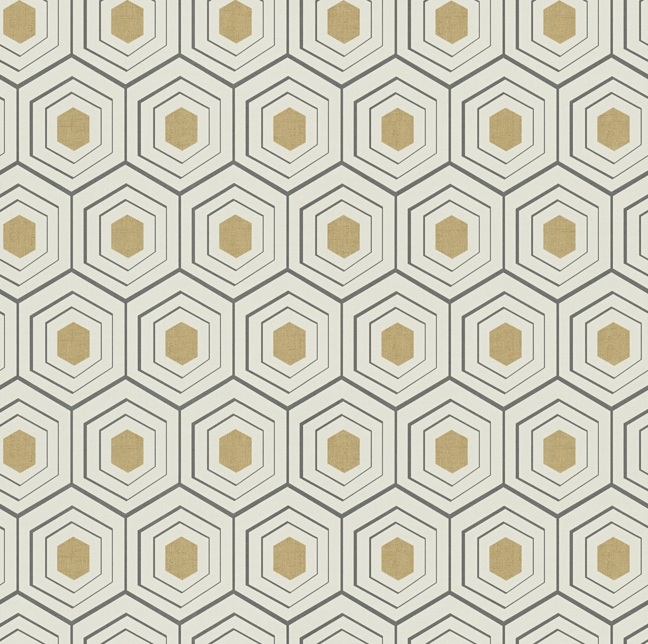 Albany Hexagon Black Gold Wallpaper Main Image