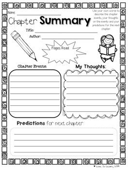 Reading Comprehension Printables for any Chapter Book | Books ...