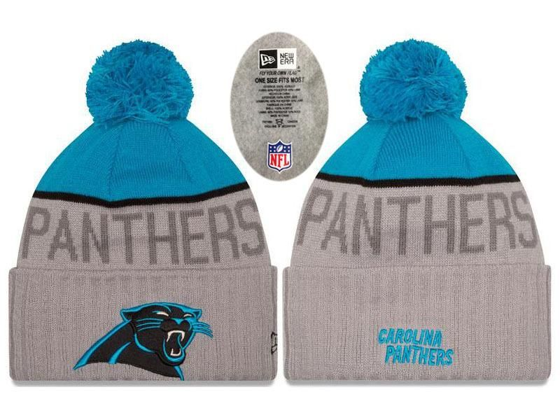 Mens   Womens Carolina Panthers New Era NFL Vivid Team Graphics On-Field  Sports Knit Pom Beanie Hat - Heather Grey   Blue 67f7746c3