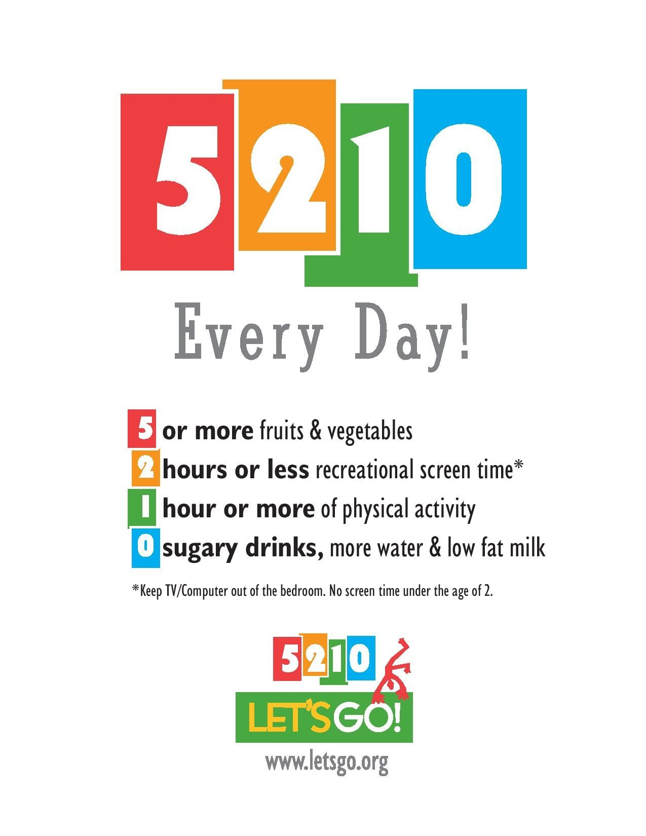 Remember 5210 to help children live a healthier