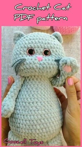 CROCHET CAT PATTERN - Amigurumi pattern Plush Cat - Crochet animal pattern - Stuffed crochet toy pattern
