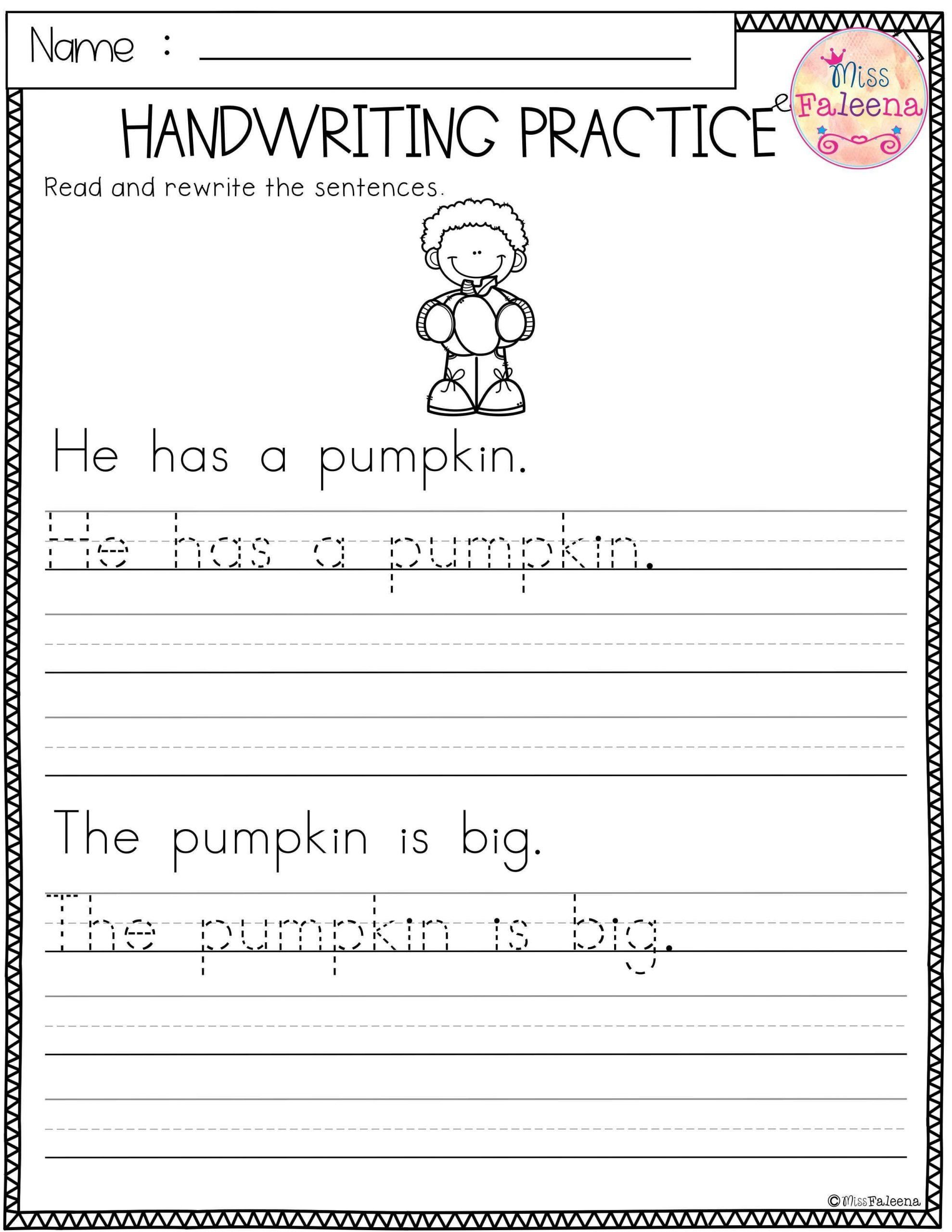 Kindergarten Sentence Writing Practice Worksheets Free