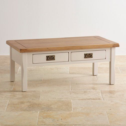 Elegant Kemble Rustic Solid Oak And Painted Coffee Table