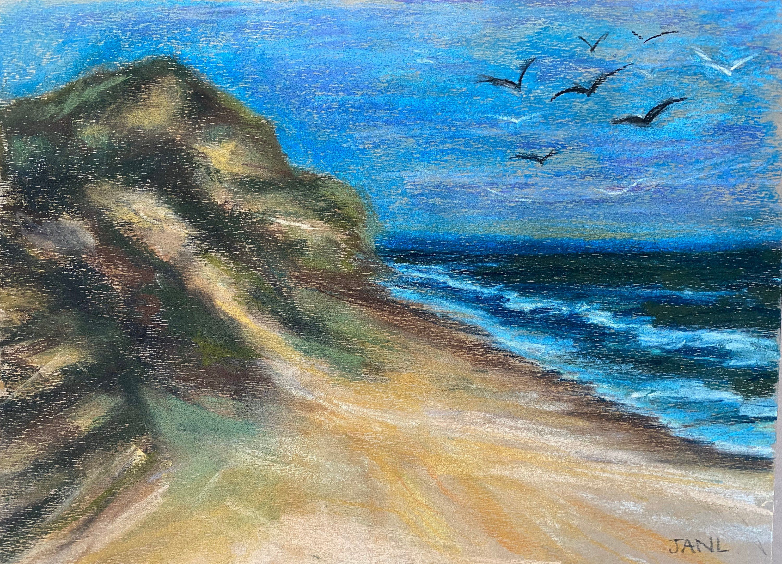 South Padre Island Beach Texas Original Pastel Painting Plein Air
