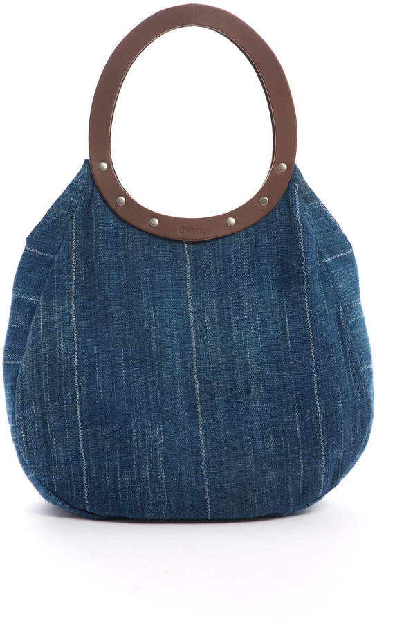 Dean Handbags Denim Circle Bag Leather Handle
