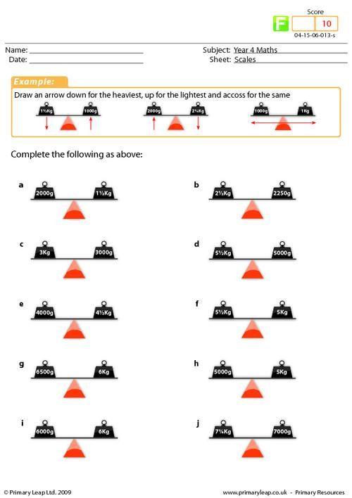 Primaryleap Co Uk Scales Worksheet