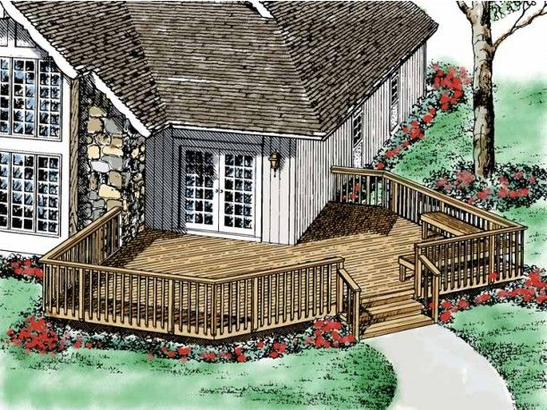 Wrap Around Deck Designs Deck Plan From Dream Home Source House Plan Code Dhsw54525 Deck Plans Deck Design Plans Gazebo Plans