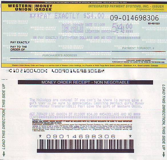 Picture Western Union Money Order Blank Money Order In