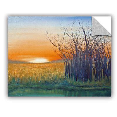 """ArtWall Riverside Sunset Wall Mural Size: 24"""" H x 32"""" W x 0.1"""" D"""