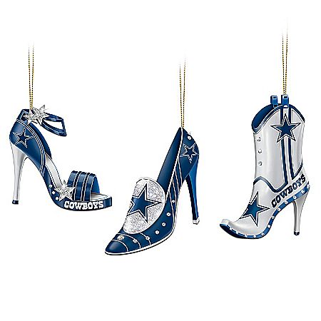 Click it to buy it. Fans of the Dallas Cowboys show their spirit from head to toe! Strut your Cowboys spirit with this first-ever NFL Dallas Cowboys stiletto shoe ornament collection. Arriving in sets of three, your festive and feisty shoe ornament collection begins with Issue One, Kick-Off in Style, a set of three stiletto-shaped ornaments sparkling with Cowboys spirit.