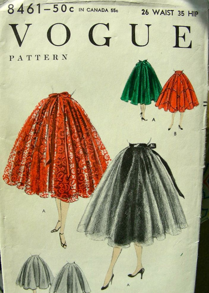 Vogue 8461 ©1954 Skirt & Sheer/Lace Tie-On Skirt