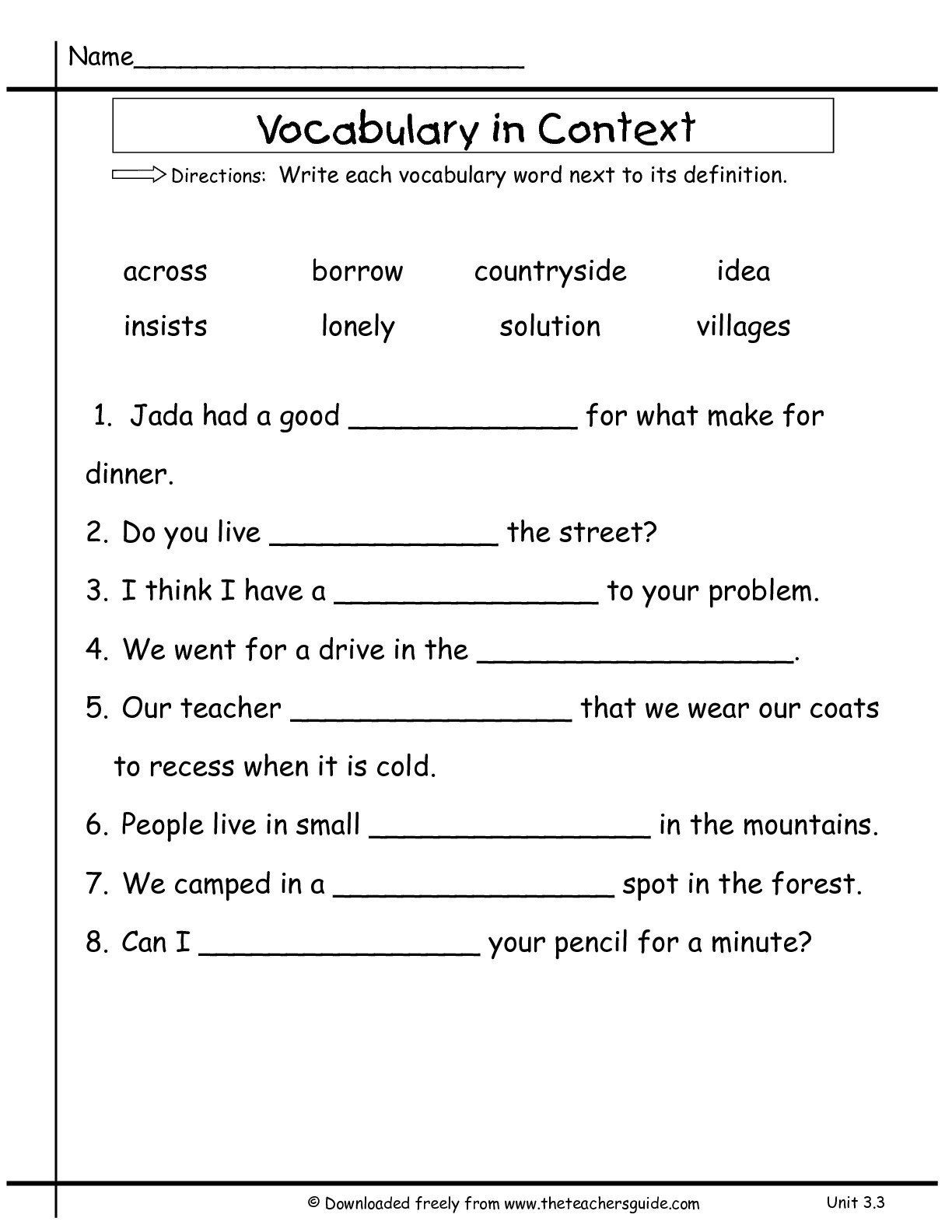 small resolution of 5th Grade Context Clues Worksheets   Printable Worksheets and Activities  for Teachers