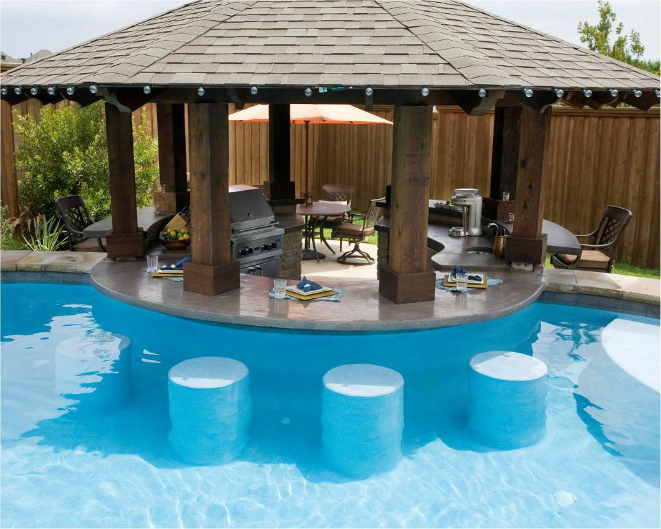 Pool have other side of round bar be dry bar stools at for Outdoor kitchen designs with pool