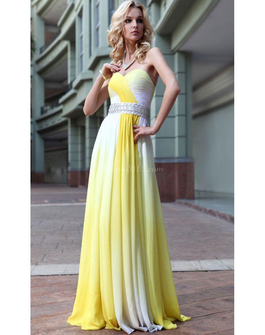Chiffon Natural Waist Long Yellow Bridesmaid Dress picture