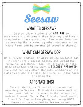 Getting Started on Seesaw Handout Teaching technology