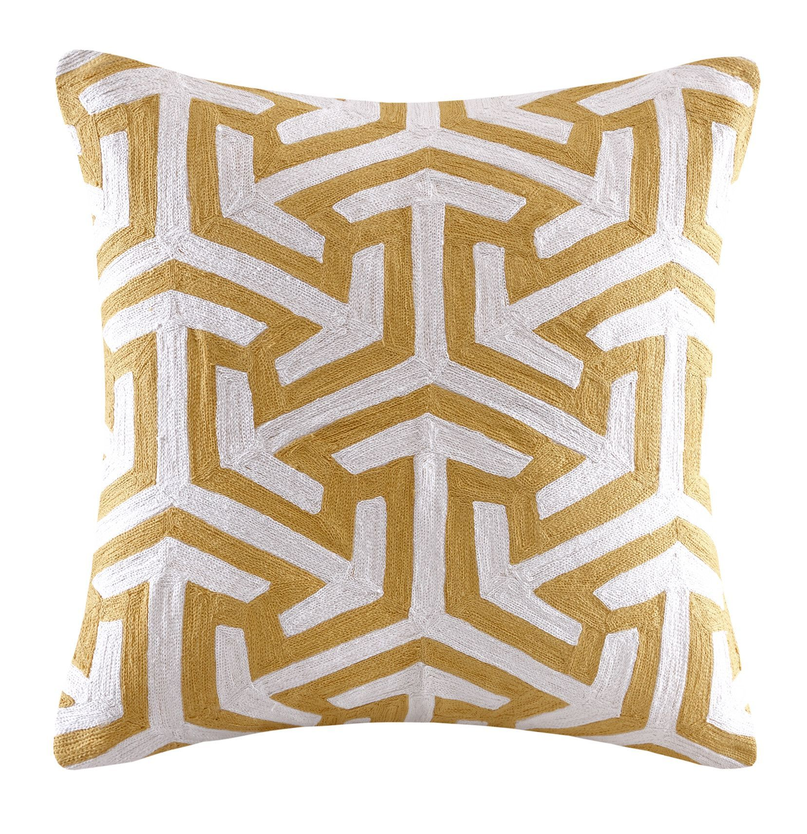 Bourg Crewel Embroidered Square Cotton Throw Pillow