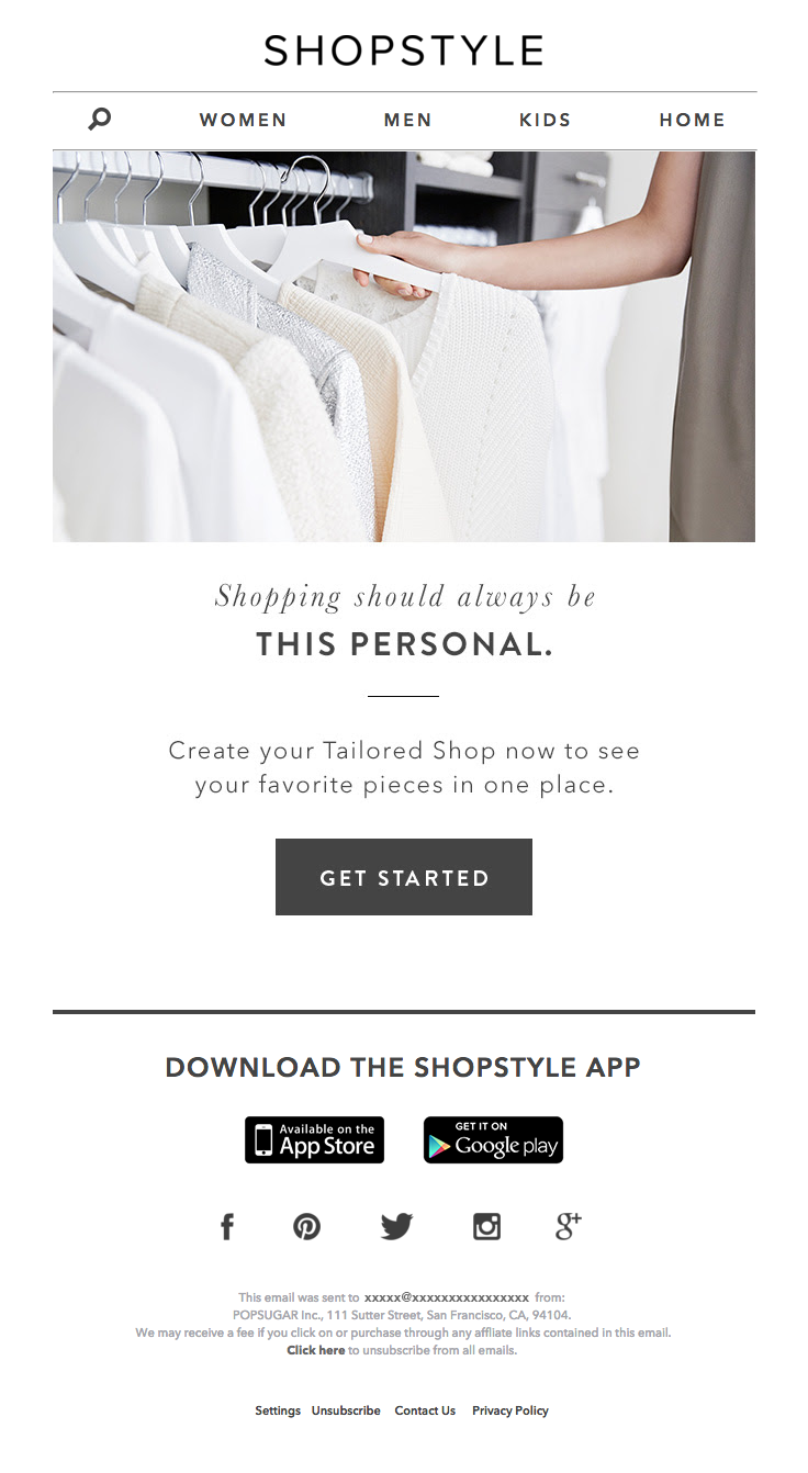 ShopStyle sent this email with the subject line: Let\'s Get Personal ...