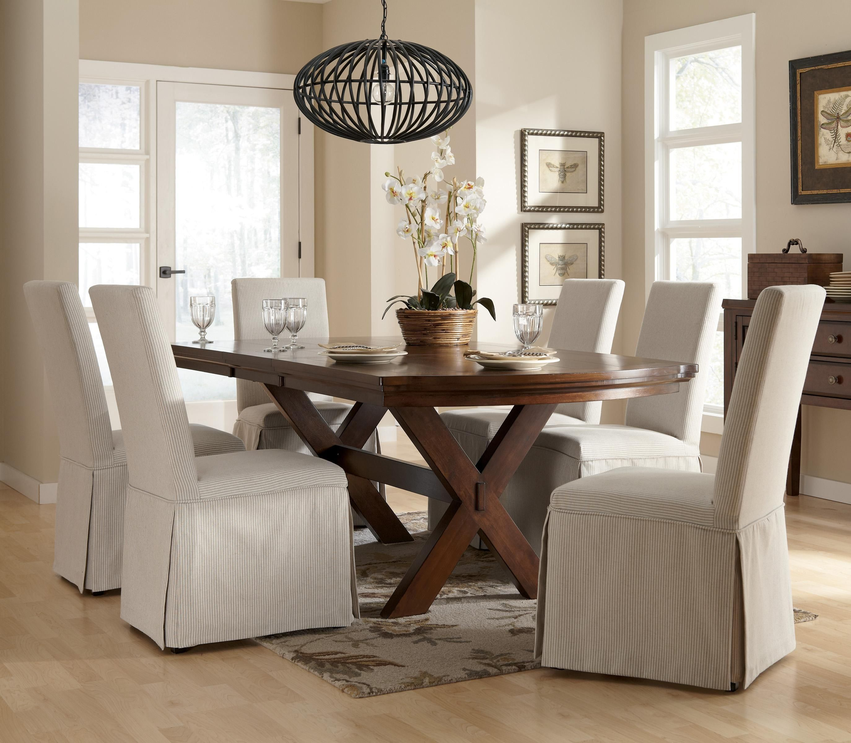 Burkesville 7Piece Trestle Table & Slipcover Side Chairs