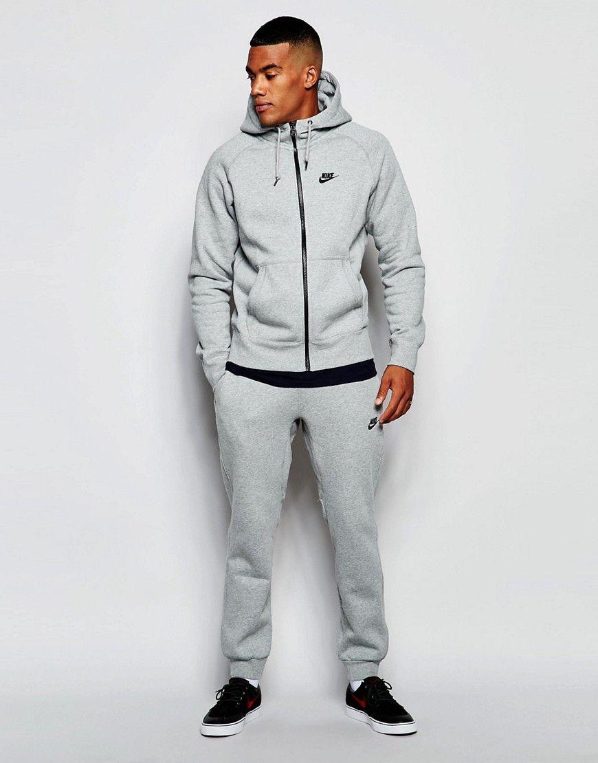 innovative design 633e5 0ac4f De lækreste Nike AW77 Skinny Tracksuit Set 678622-063 - Grey Nike Joggers  til Herrer til hverdag og til fest
