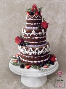 Most Beautiful Naked Cake I Ve Ever Made Chocolate Cake With Pink