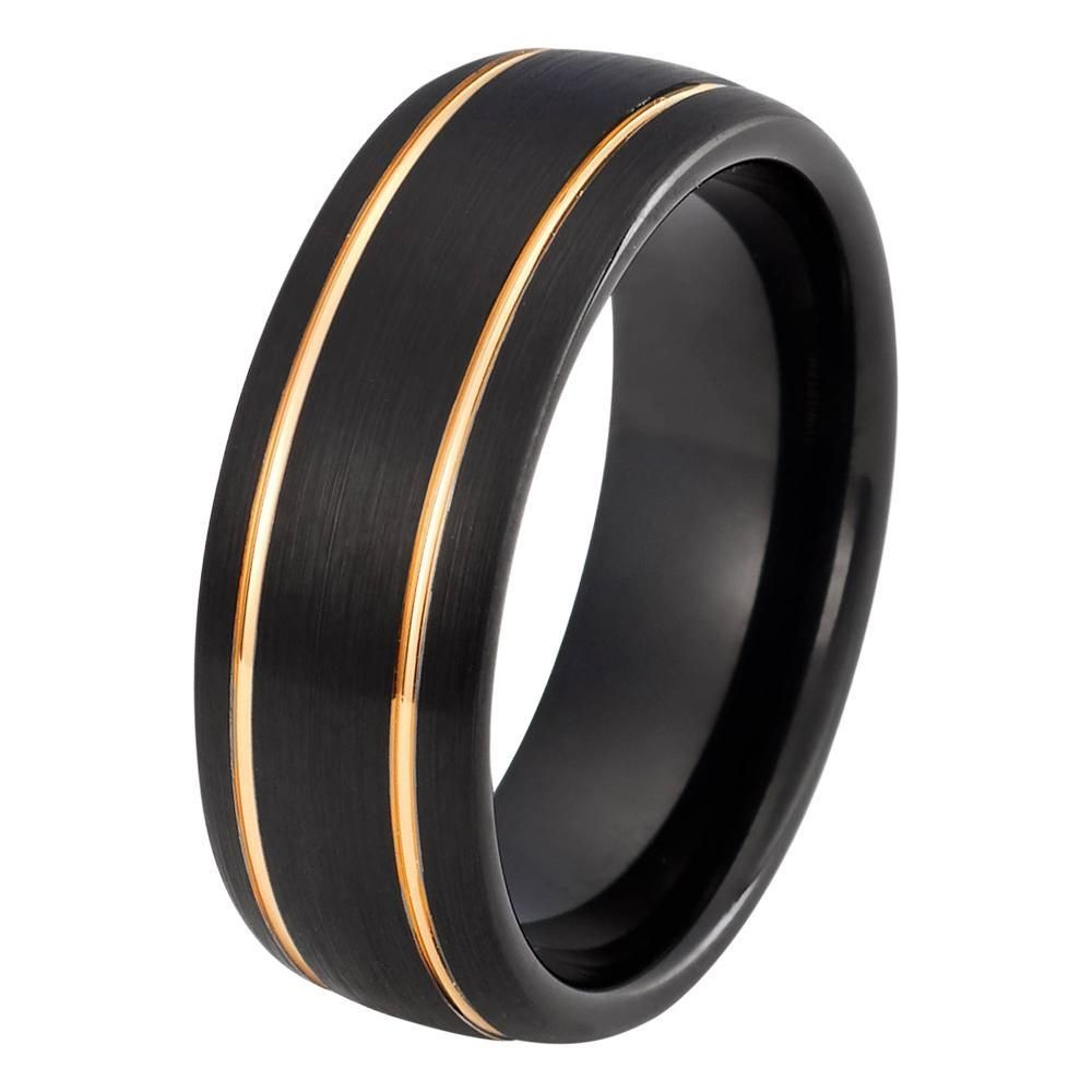 Black Rose Gold Wedding Band Ring Brushed Tungsten Carbide 8mm 18k Mens Man Anniversary Matching Double