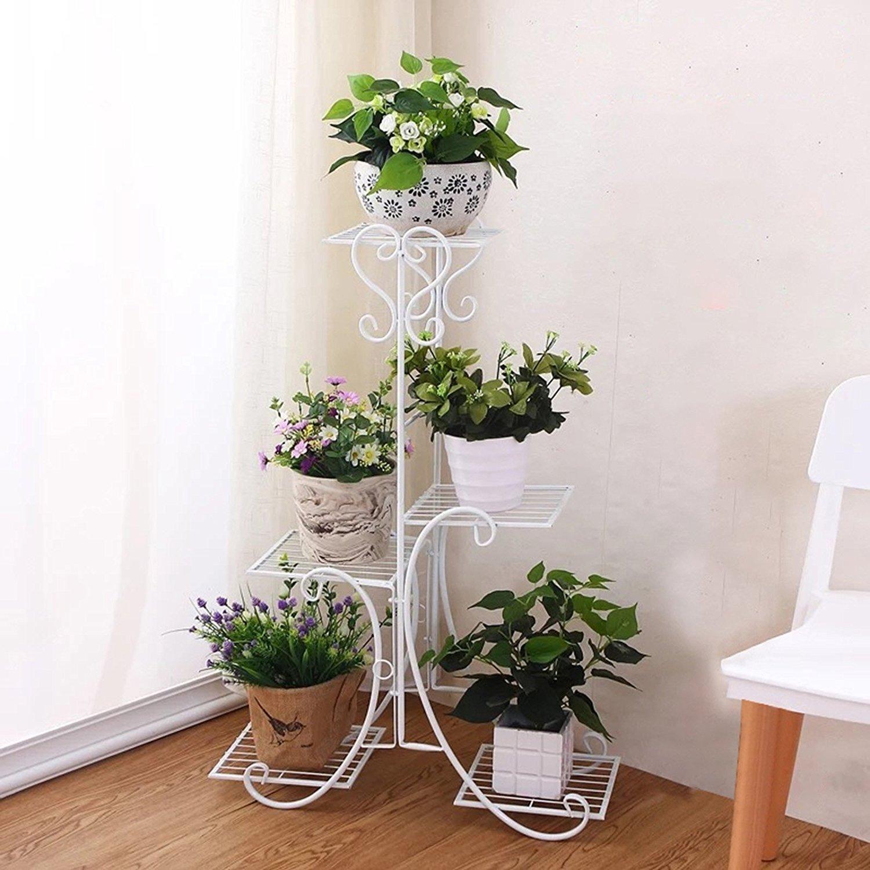 5 Tier Metal Plant Stand Decorative Planter Holder Flower Pots Stander White Intl In 2020 Metal Flower Pots House Plants Decor Flower Pots