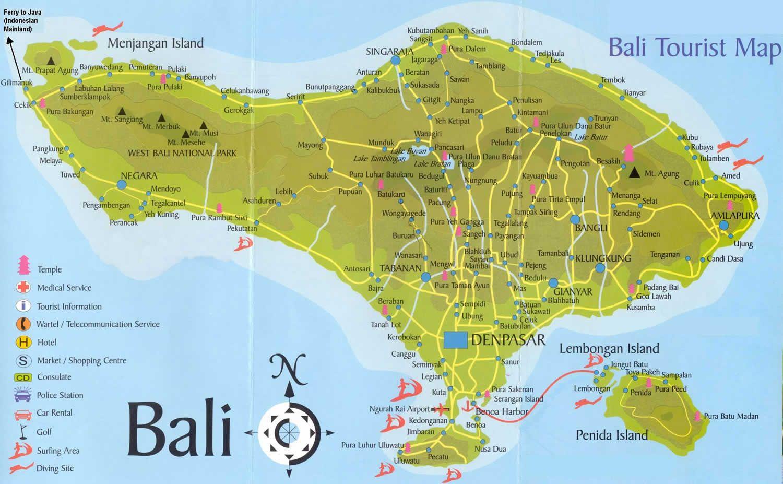 Carte Bali Lombok Gili.Bali Map Bali Map In 2019 Bali Kuta Bali Tourist Map