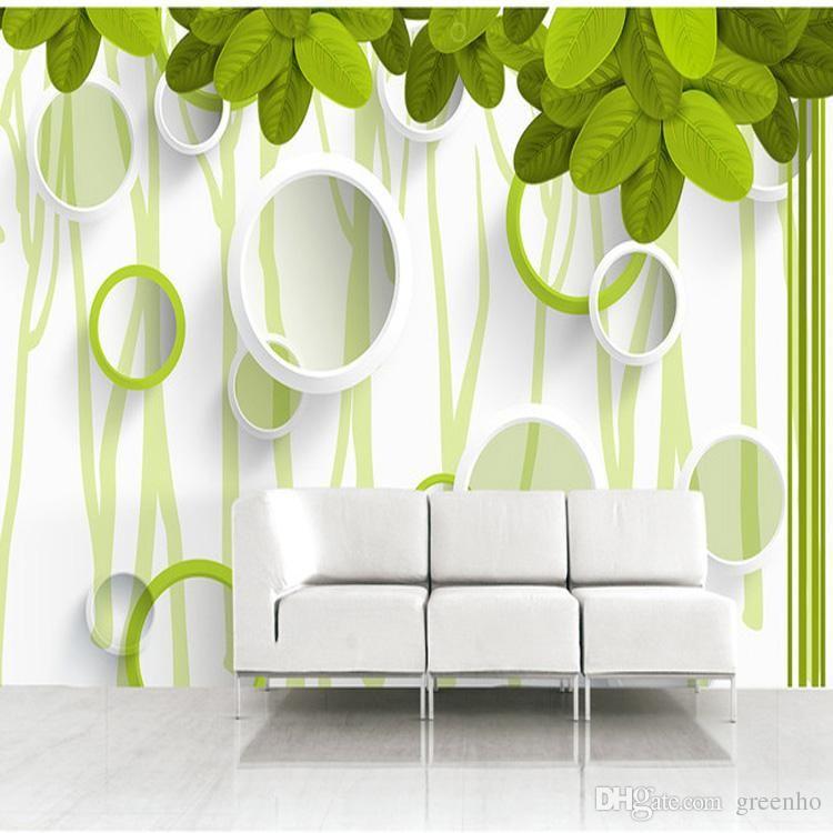 Nature Trees Leaves Photo Wallpaper 3d Elegant Circles Wallpaper Custom Green Wall Mural Art Home Decoration Kids Room Decor Bedroom Hallway Dropship