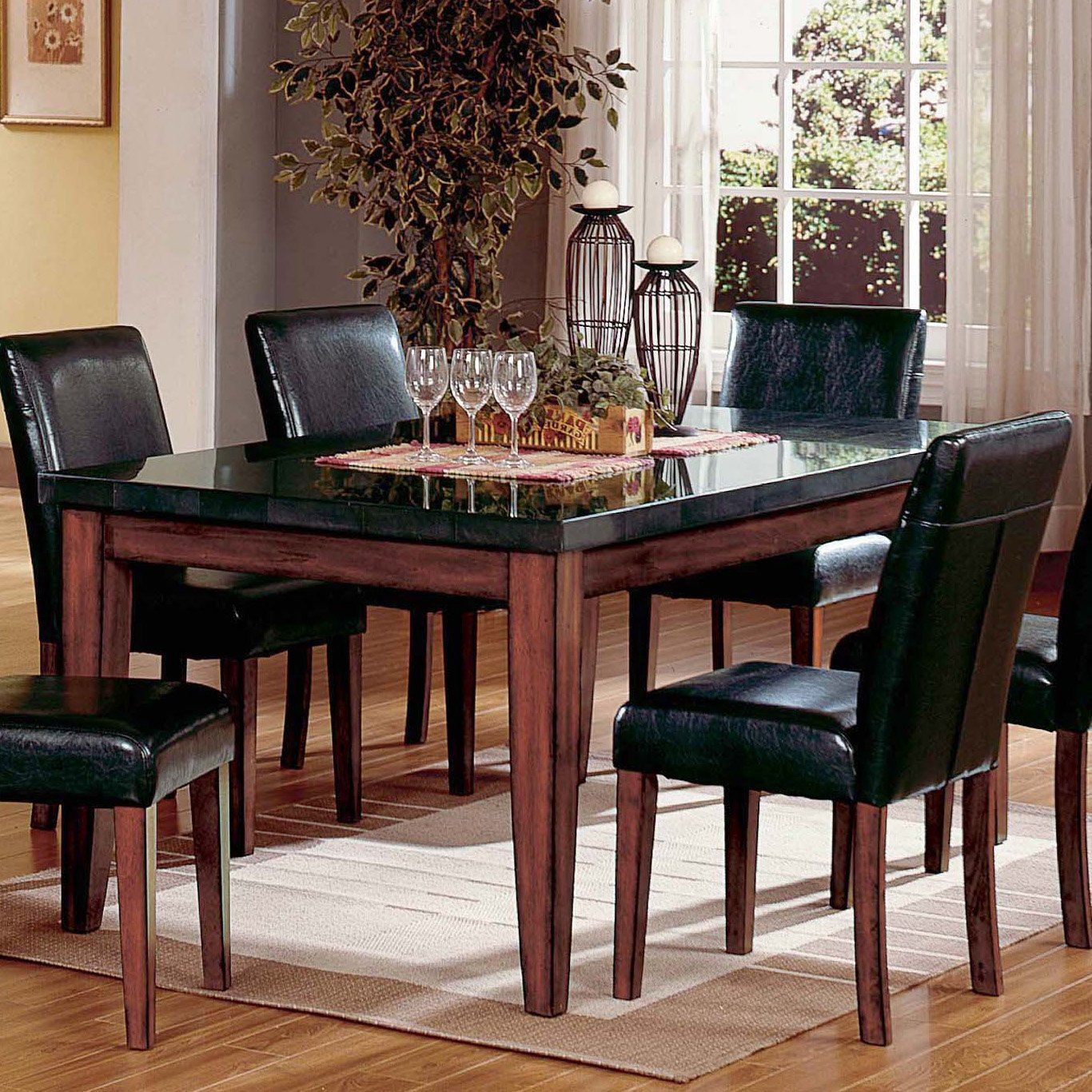 Granite Dining Room Furniture Gorgeous Have To Have Itsteve Silver Montibello Granite Top Rectangular Design Ideas