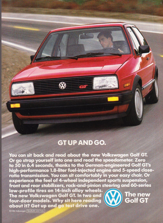 Vw Golf Gt Ad Magazine Advertisement Vintage Volkswagen Golf Volkswagen Vw Golf Gt