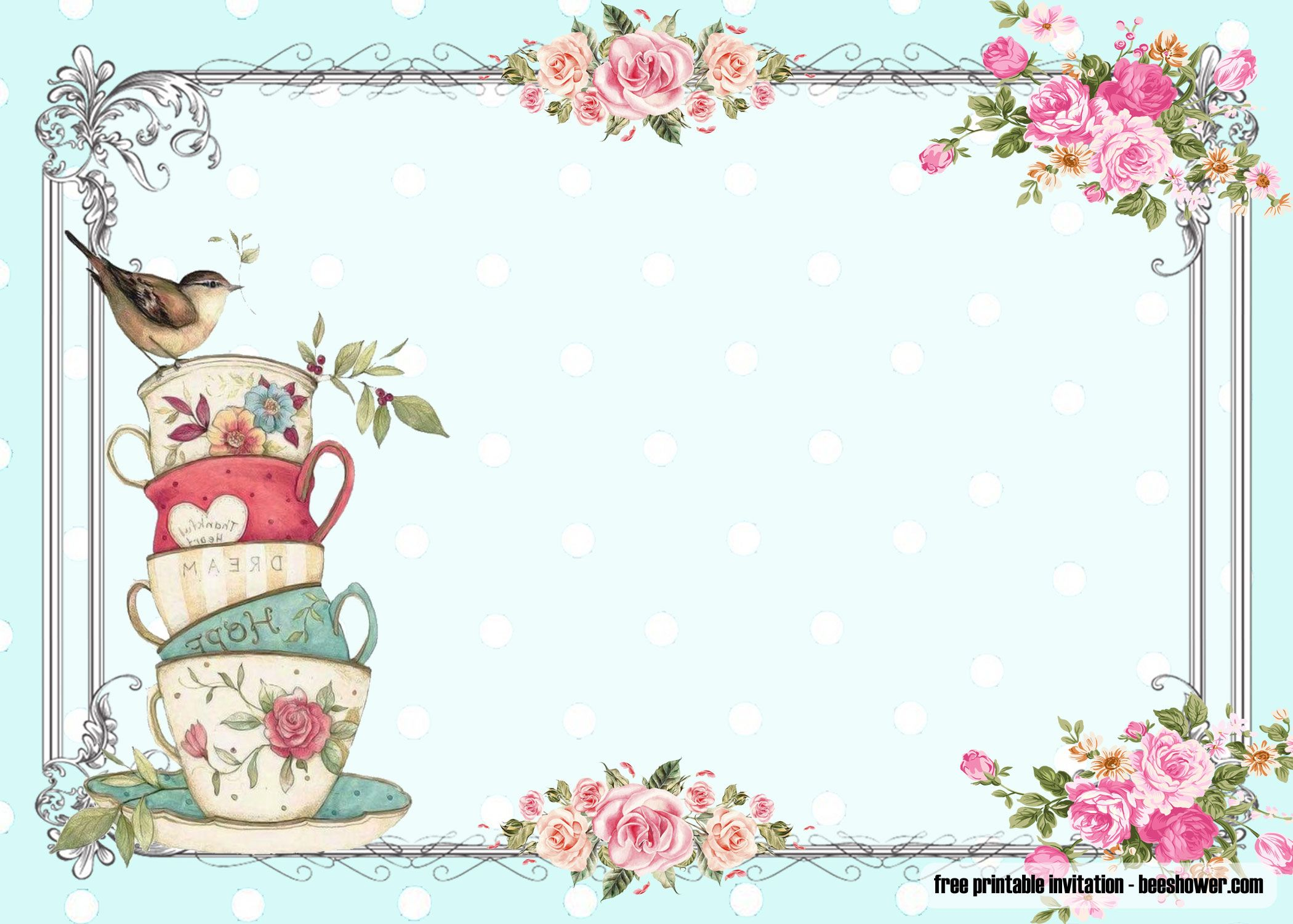 FREE Vintage Tea Party Baby Shower Invitations  DREVIO in 5