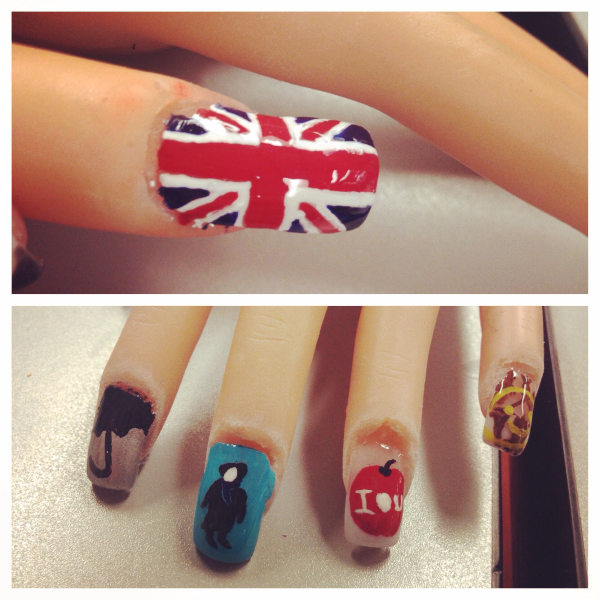 my Sherlock nails! done by me Megan Rowland at my cosmetology school ...