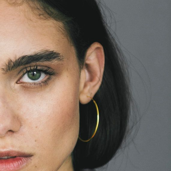 Thin Gold Hoop Earrings Large Minimalist Delicate Hoops Minimal Dainty Earring